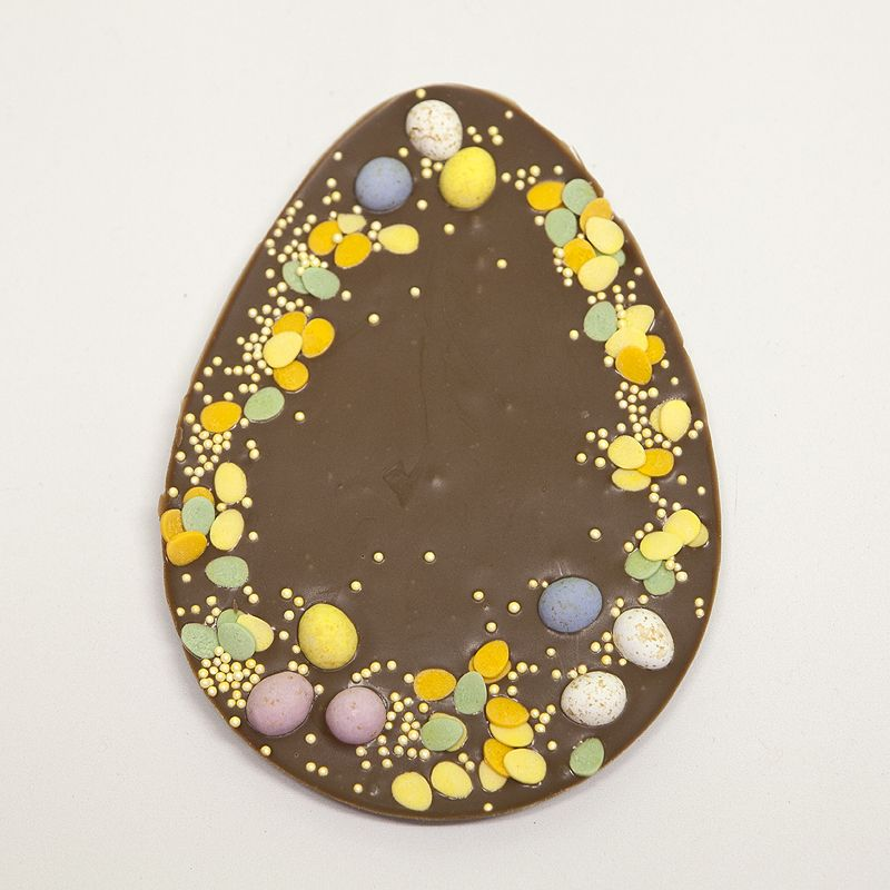 "Plain 7"" milk Belgian Chocolate 2D Easter Egg"